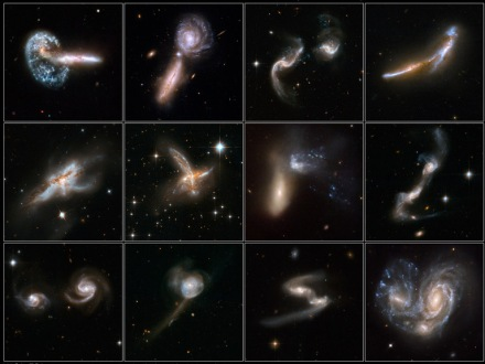A selection of galaxies colliding.