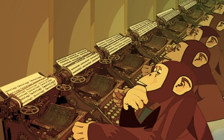 Little monkeys behind big keyboards.
