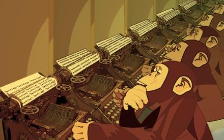 Little monkeys behind big keyboards.